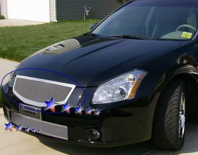 Grilles - Custom Fit Grilles - APS - Nissan Maxima APS Wire Mesh Grille - Upper - Stainless Steel - N76463T