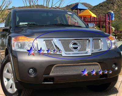 Grilles - Custom Fit Grilles - APS - Nissan Armada APS Wire Mesh Grille - with Logo Opening - Upper - Stainless Steel - N76507T