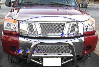 Grilles - Custom Fit Grilles - APS - Nissan Titan APS Wire Mesh Grille - without Logo Opening - Upper - Stainless Steel - N76520T