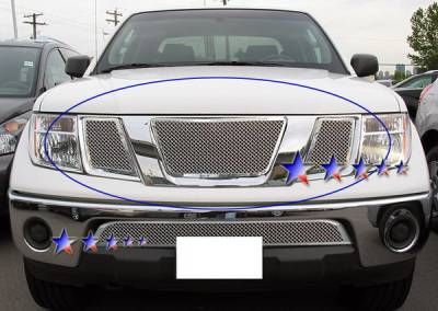 Grilles - Custom Fit Grilles - APS - Nissan Armada APS Wire Mesh Grille - without Logo Opening - Upper - Stainless Steel - N76521T