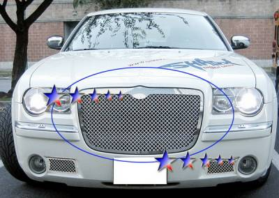 Grilles - Custom Fit Grilles - APS - Chrysler 300 APS Wire Mesh Grille - Upper - Stainless Steel - R75300S