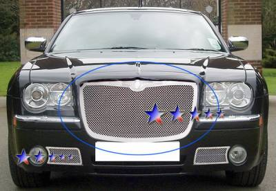 Grilles - Custom Fit Grilles - APS - Chrysler 300 APS Wire Mesh Grille - Upper - Stainless Steel - R75300T
