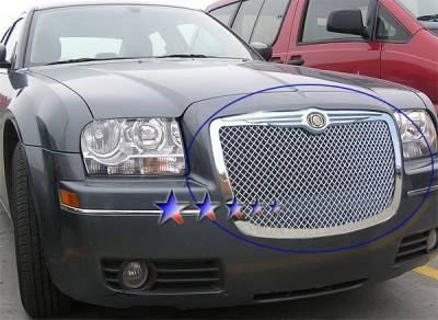 Grilles - Custom Fit Grilles - APS - Chrysler 300 APS Wire Mesh Grille - with Logo Opening - Upper - Stainless Steel - R75300U