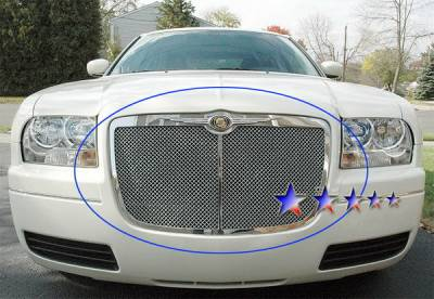 Grilles - Custom Fit Grilles - APS - Chrysler 300 APS Wire Mesh Grille - with Vertical Center Bar - Upper - Stainless Steel - R75300X