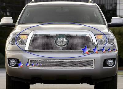 Grilles - Custom Fit Grilles - APS - Toyota Sequoia APS Wire Mesh Grille - Upper - Stainless Steel - T76553T