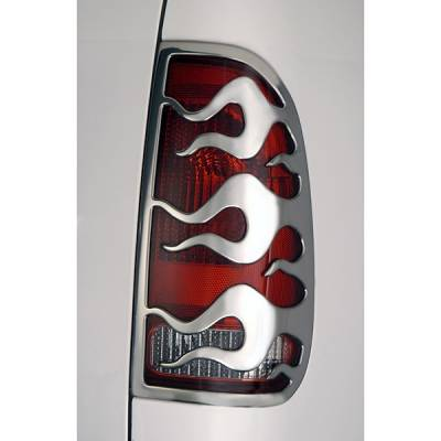 Headlights & Tail Lights - Tail Light Covers - V-Tech - Ford Superduty V-Tech Taillight Covers - Flame Style - Chrome - 132931