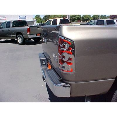Headlights & Tail Lights - Tail Light Covers - V-Tech - Dodge Ram V-Tech Taillight Covers - Flame Style - Chrome - 132970