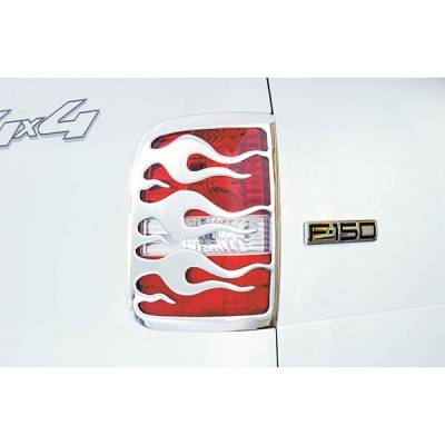 Headlights & Tail Lights - Tail Light Covers - V-Tech - Dodge Ram V-Tech Taillight Covers - Flame Style - Chrome - 132988