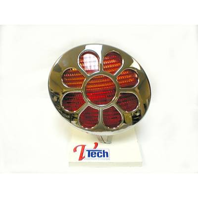 Headlights & Tail Lights - Tail Light Covers - V-Tech - Volkswagen Beetle V-Tech Taillight Covers - Daisy Style - Chrome - 1392226