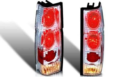 Headlights & Tail Lights - Tail Lights - WinJet - Nissan Pickup WinJet Altezza Taillight with Halo - Chrome & Clear - WJ20-0042-01