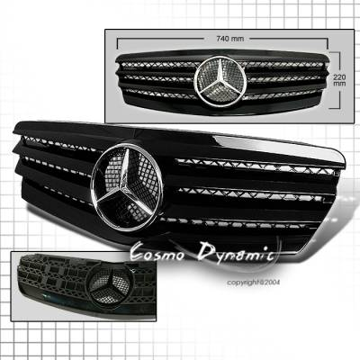 Grilles - Custom Fit Grilles - Custom - SL Style E Class Grille - Black Silver