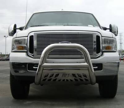 Grilles - Grille Guard - Aries - Ford F350 Superduty Aries Big Horn Bar with Stainless Skid - 4 Inch