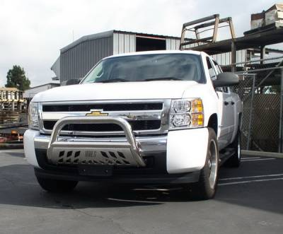 Grilles - Grille Guard - Aries - GMC Sierra Aries Bull Bar with Stainless Skid - 3 Inch