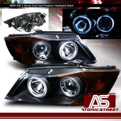 Headlights & Tail Lights - Headlights - AT - Black E90 Halo Headlights