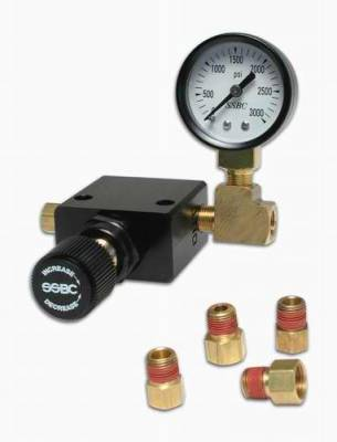 Brakes - Brake Components - SSBC - SSBC Black Anodized Adjustable Proportioning Valve with Pressure Gauge - A0707E