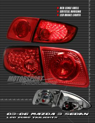 Headlights & Tail Lights - Led Tail Lights - Custom - Red Euro LED Taillights