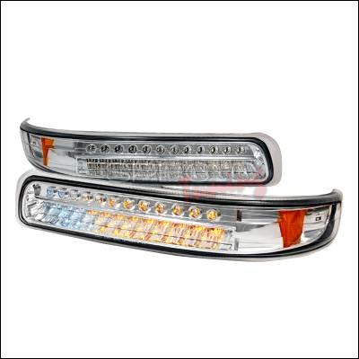 Headlights & Tail Lights - Corner Lights - Spec-D - Chevrolet Tahoe Spec-D LED Bumper Lights - Chrome - 2LB-SIV99CLED-KS
