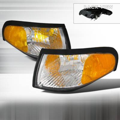Headlights & Tail Lights - Corner Lights - Spec-D - Ford Mustang Spec-D Corner Lights - Chrome - 2LC-MST95-DP