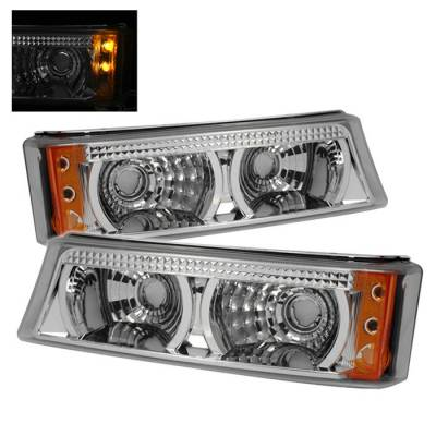Headlights & Tail Lights - Corner Lights - Spyder - Chevrolet Silverado Spyder Amber Bumper Lights - Chrome - CBL-CS04-C-AM
