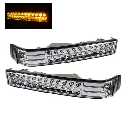 Headlights & Tail Lights - Corner Lights - Spyder - Chevrolet S10 Spyder LED Amber Bumper Lights - Chrome - CBL-CS1098-LED-E