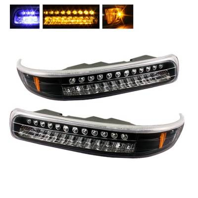 Headlights & Tail Lights - Corner Lights - Spyder - Chevrolet Silverado Spyder LED Amber Bumper Lights - Black - CBL-CS99-LED-BK
