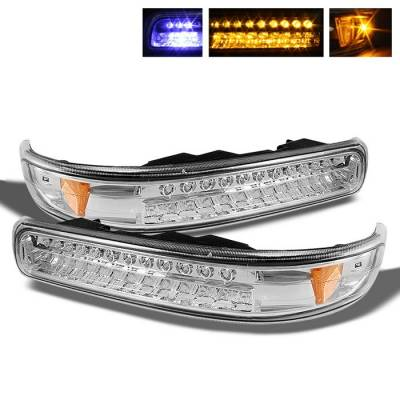 Headlights & Tail Lights - Corner Lights - Spyder - Chevrolet Silverado Spyder LED Amber Bumper Lights - Chrome - CBL-CS99-LED-E