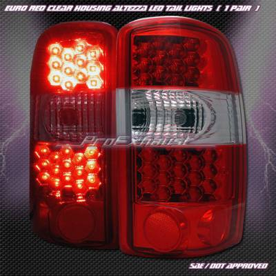 Headlights & Tail Lights - Led Tail Lights - Custom - Euro Red Clear LED Taillights