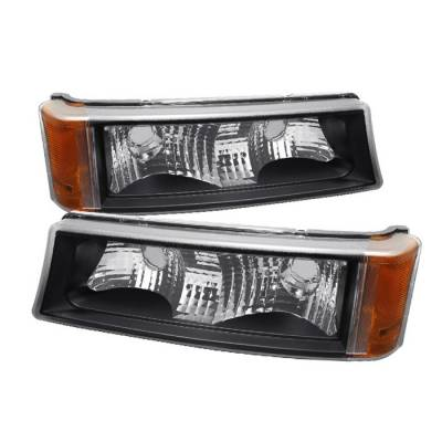 Headlights & Tail Lights - Corner Lights - Spyder - Chevrolet Silverado Spyder Amber Reflector Bumper Lights - Black - CBL-ZO-CS03-AM-BK