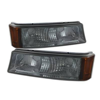 Headlights & Tail Lights - Corner Lights - Spyder - Chevrolet Silverado Spyder Amber Reflector Bumper Lights - Smoke - CBL-ZO-CS03-AM-SM