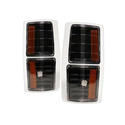 Headlights & Tail Lights - Corner Lights - Spyder - Chevrolet CK Truck Spyder Amber Corner Lights - Black - 4PC - CCL-CCK88-BK-AM