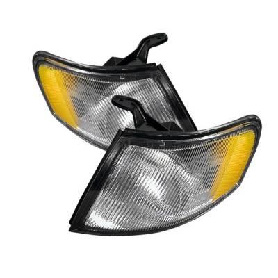 Headlights & Tail Lights - Corner Lights - Spyder - Nissan 200SX Spyder Amber Corner Lights - Chrome - CCL-CL-NS95-AM-C