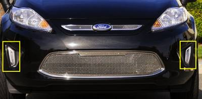 Grilles - Custom Fit Grilles - T-Rex - Ford Fiesta T-Rex Upper Class Polished Stainless Bumper Mesh Grille - Side Openings - 2PC - 11588