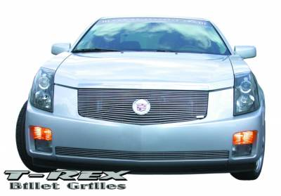 Grilles - Custom Fit Grilles - T-Rex - Cadillac CTS T-Rex Billet Grille Insert with Center Billet Logo Plate - 17 Bars - 20190
