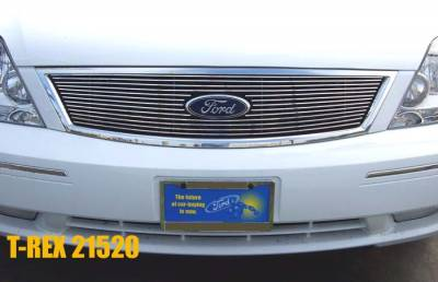 Grilles - Custom Fit Grilles - T-Rex - Ford 500 T-Rex Billet Grille Overlay - Bolt On with Logo Opening - 13 Bars - 21520