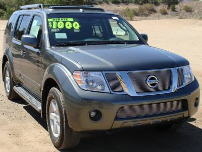 Grilles - Custom Fit Grilles - T-Rex - Nissan Pathfinder T-Rex Billet Grille Overlay with Logo Opening - 3PC - 21761