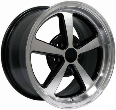 Wheels - Mustang Wheels - AM Custom - Ford Mustang Black Machined Deep Dish Mach 1 Wheel