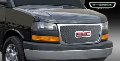 Grilles - Custom Fit Grilles - T-Rex - GMC Savana T-Rex Sport Series Formed Mesh Grille - Stainless Steel - Triple Chrome Plated with Logo Opening - 44316