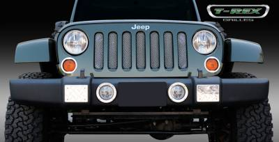 Grilles - Custom Fit Grilles - T-Rex - Jeep Wrangler T-Rex Sport Series Formed Mesh Grille - Stainless Steel - Triple Chrome Plated - 44481
