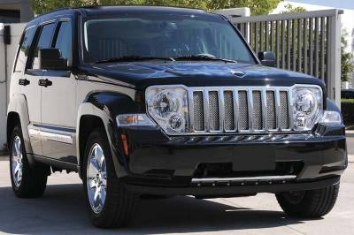 Grilles - Custom Fit Grilles - T-Rex - Jeep Liberty T-Rex Sport Series Formed Mesh Grille - Stainless Steel - Triple Chrome Plated - 7PC - 44487