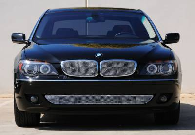 Grilles - Custom Fit Grilles - T-Rex - BMW 7 Series T-Rex Sport Series Formed Stainless Steel Mesh Grille with thin SS Frame - Triple Chrome Plated - 2PC - 44999