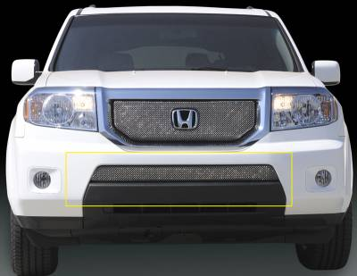 Grilles - Custom Fit Grilles - T-Rex - Honda Pilot T-Rex Sport Series Formed Mesh Bumper Grille - Triple Chrome Plated - 45705