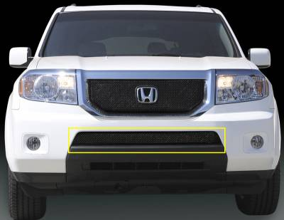 Grilles - Custom Fit Grilles - T-Rex - Honda Pilot T-Rex Sport Series Formed Mesh Grille - All Black Powdercoat with Logo Opening - 46705