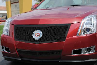 Grilles - Custom Fit Grilles - T-Rex - Cadillac CTS T-Rex Upper Class Mesh Grille - All Black - Formed Mesh with Recessed Logo Area - 51197