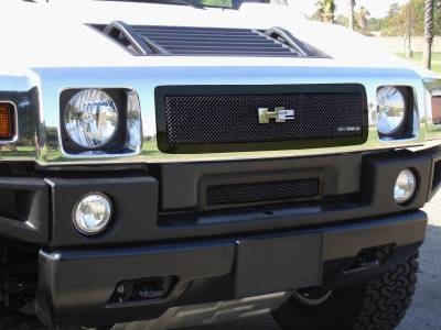 Grilles - Custom Fit Grilles - T-Rex - Hummer H2 T-Rex Upper Class Mesh Grille - All Black - Custom Full Center Opening - 51290