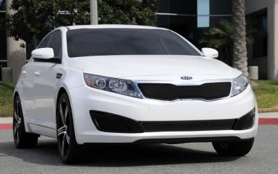 Grilles - Custom Fit Grilles - T-Rex - Kia Optima T-Rex Upper Class Mesh Grille - All Black with Formed Mesh Center - 51320