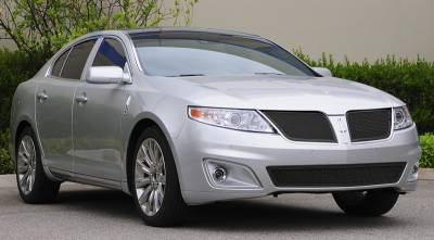 Grilles - Custom Fit Grilles - T-Rex - Lincoln MKS T-Rex Upper Class Mesh Grille - All Black with Formed Mesh - 51718
