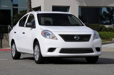 Grilles - Custom Fit Grilles - T-Rex - Nissan Versa T-Rex Upper Class Polished Mesh Grille with OE Logo - All Black - 51775