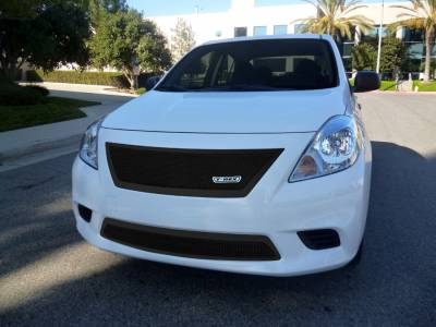 Grilles - Custom Fit Grilles - T-Rex - Nissan Versa T-Rex Upper Class Polished Mesh Grille - All Black - 51776