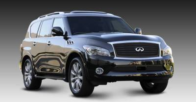 Grilles - Custom Fit Grilles - T-Rex - Infiniti QX56 T-Rex Upper Class Mesh Grille - Overlay with OE Logo Plate - Black - 51793