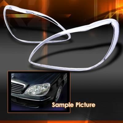 Headlights & Tail Lights - Headlight Covers - Custom Disco - Mercedes-Benz S Class Custom Disco Chrome Headlight Trim - TLH-BW22099C